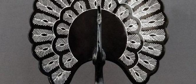 Bidriware Silver Inlay Peacock