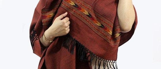 Textured Kullu Pure Wool Stole With Dari (Walnut brown)