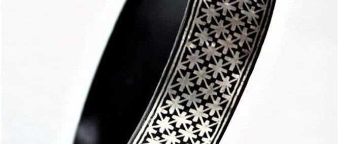 Bidriware Silver Inlay Big Star Bangle – Single