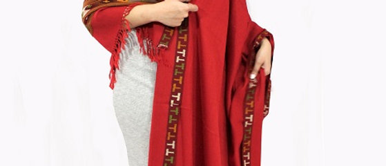 Kullu Pure Wool Shawl (Kunkum)