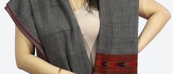 Textured Kullu Pure Wool Stole With Dari (Deep Ash)