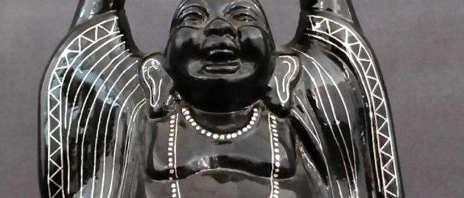 Bidriware Silver Inlay Happy Buddha