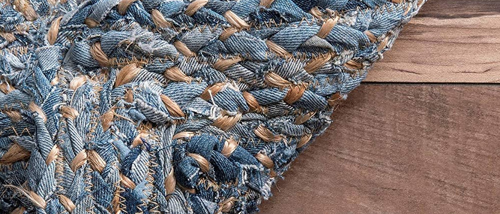Recycled deniem with Jute | Hand Braided | Native Rajasthan