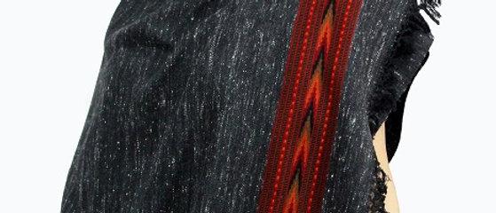 Textured Kullu Pure Wool Stole With Dari (Black Rug)
