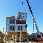 "Setting of Modules North Carolina NC Outer Banks Modular Homes Builder"", ""North Carolina OBX Sound & Shore Builders, Inc."