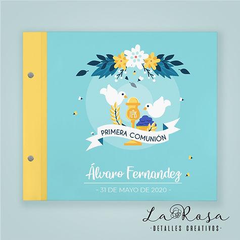 libro de firmas comunion palomas flores.