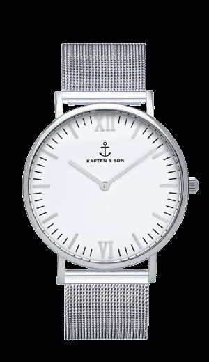 Kaptan Silver Mesh Watch