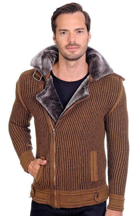 Camel brown Cardigan blazer.