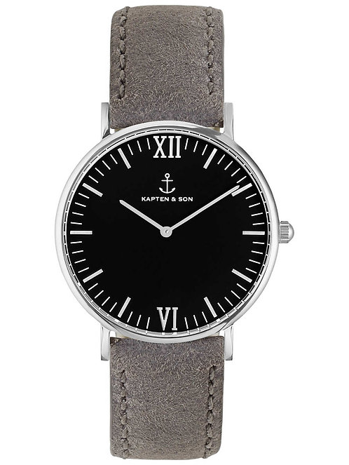 Kaptan Silver Black Grey Vintage Leather Watch
