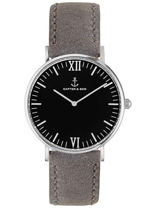 Kaptan Silver Black Grey Vintage Leather Watch