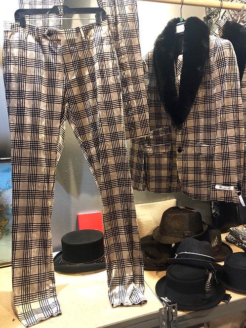 Suit velvet color beige/ plaid/black