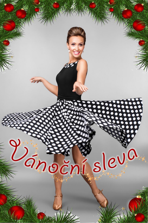 Vánoční sleva na taneční oblečení VEGADANCE. Černobílé puntíkované šaty STT č. 753