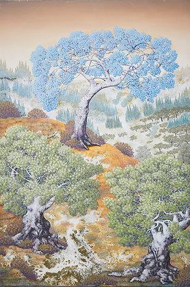 ציור עצים ונוף