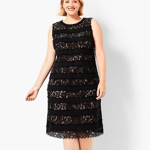 Talbots Lace & Tweed Striped Dress  14W