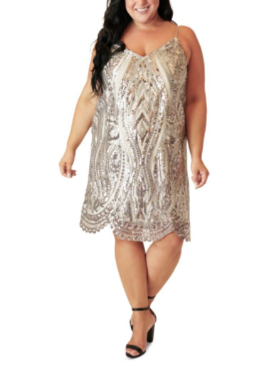 V Neck Sequin Dress Sz20