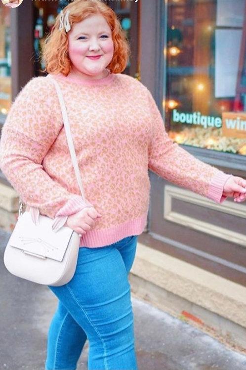 Pink Animal Print Sweater