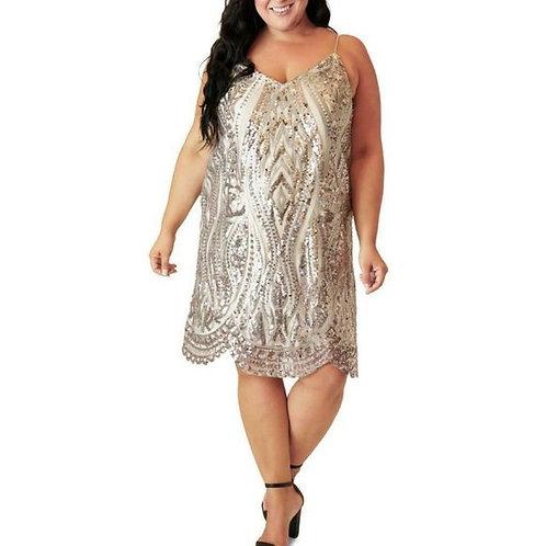 V Neck Sequin Dress Sz20