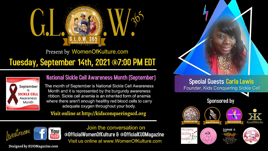 September 14th- GLOW 365 - Greater Level of Wellness 365 Featuring Carla Lewis.jpg