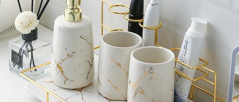 Ceramic Bathroom Kit, Mouthwash Cup, Lotion Bottle, Bathroom Decoration