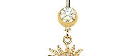 Gold Plated Shimmering Sunburst Dangle Navel Ring