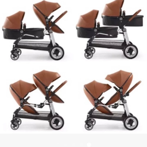 Twin leather egg shaped stroller