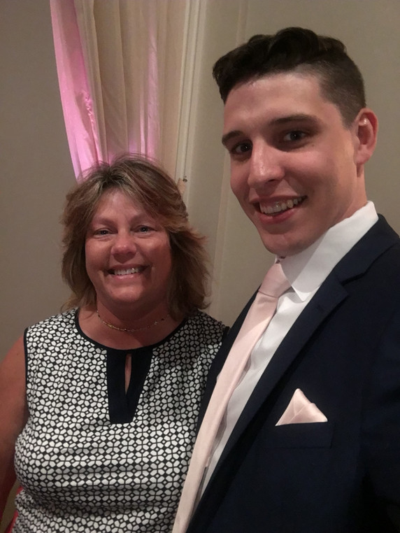 Brandon's mom with his donor at donor's wedding