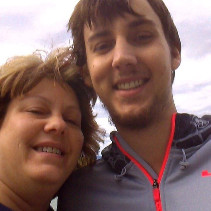 Brandon and his proud mom outside on the cancer floor at the children's hospital.