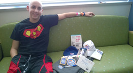 Brandon gets goodie box from White Castle.