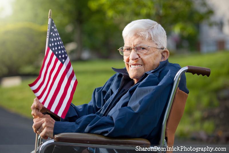 Senior vet with American flag