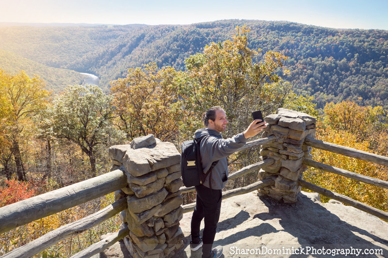 Man taking a selfie at Coopers Rock State Forest, WVA
