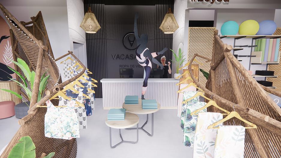 Diseño de tienda de ropa de yoga, concept store yoga