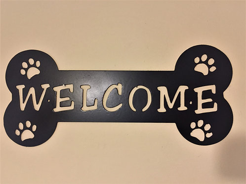 Welcome Bone with Paw Prints