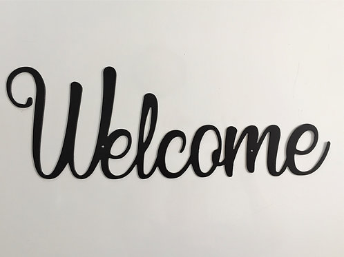 Welcome in cursive font (horizontal) sign
