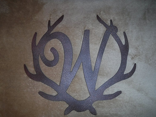 Antler Initial Wreath