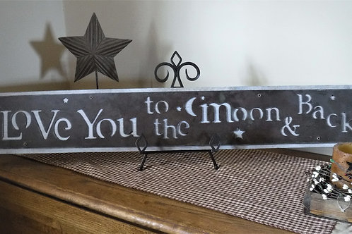 I Love You to the Moon & Back Metal on Oak