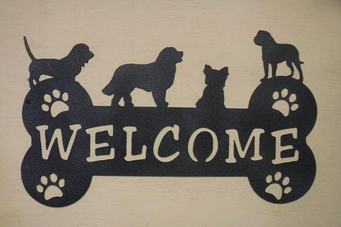 Welcome Dog on Bone Sign