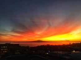 Sunrise over Rangitoto by Ayla Yenidogan