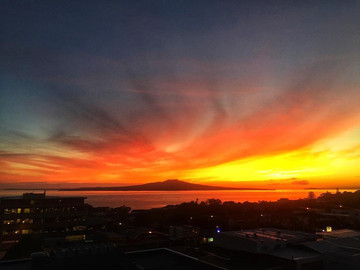 Sunrise over Rangitoto by Ayla Yenidogan