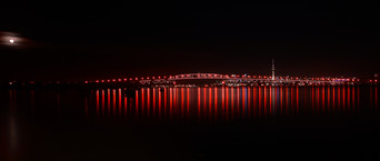 Auckland bridge and skytower by Andrew Mulcahy