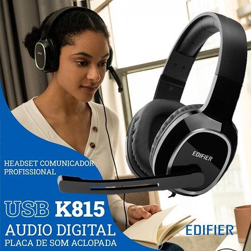 Headset USB Edifier K815 Over-Ear - Comunicador Profissional c/ Áudio Digital