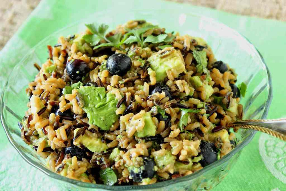 wild rice avocado and blueberry in a bowl