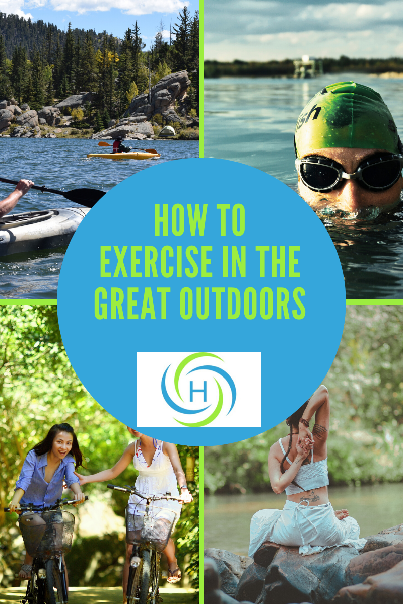 exercising outdoors can be canoeing, swimming, yoga and bike riding