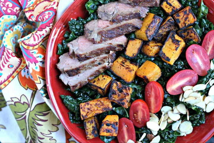 steak butternut squash kale tomatoes and almonds