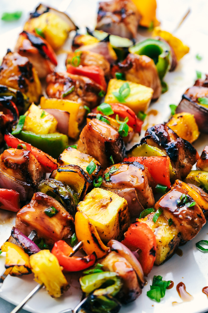grilled chicken on a skewer with pineapple and vegetables