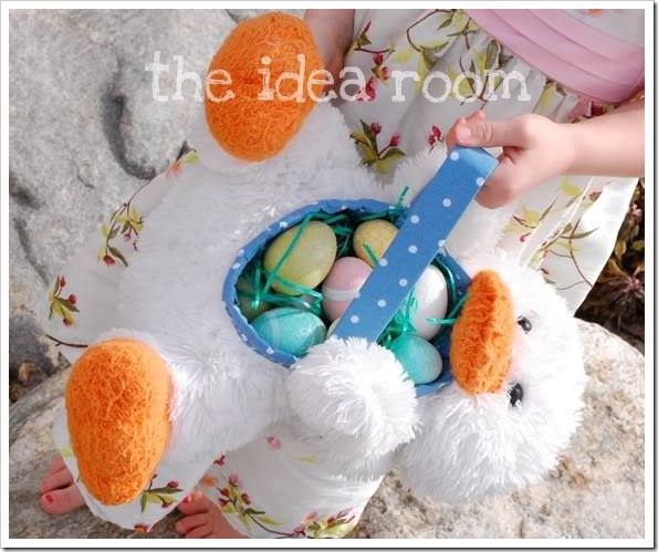 stuffed animal easter basket made out of a duck