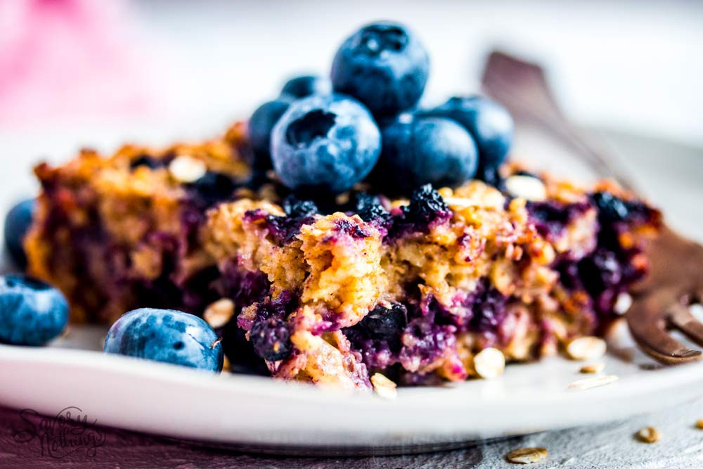 blueberry baked oatmeal is a gut healthy breakfast