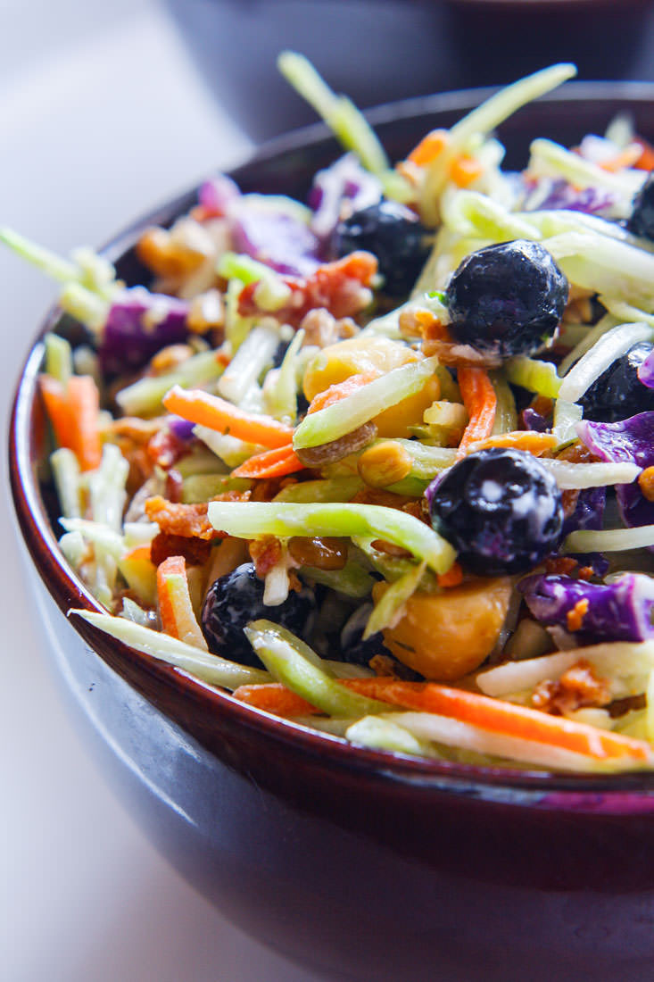broccoli slaw is made with kefir yogurt which promotes good bacteria in our gut