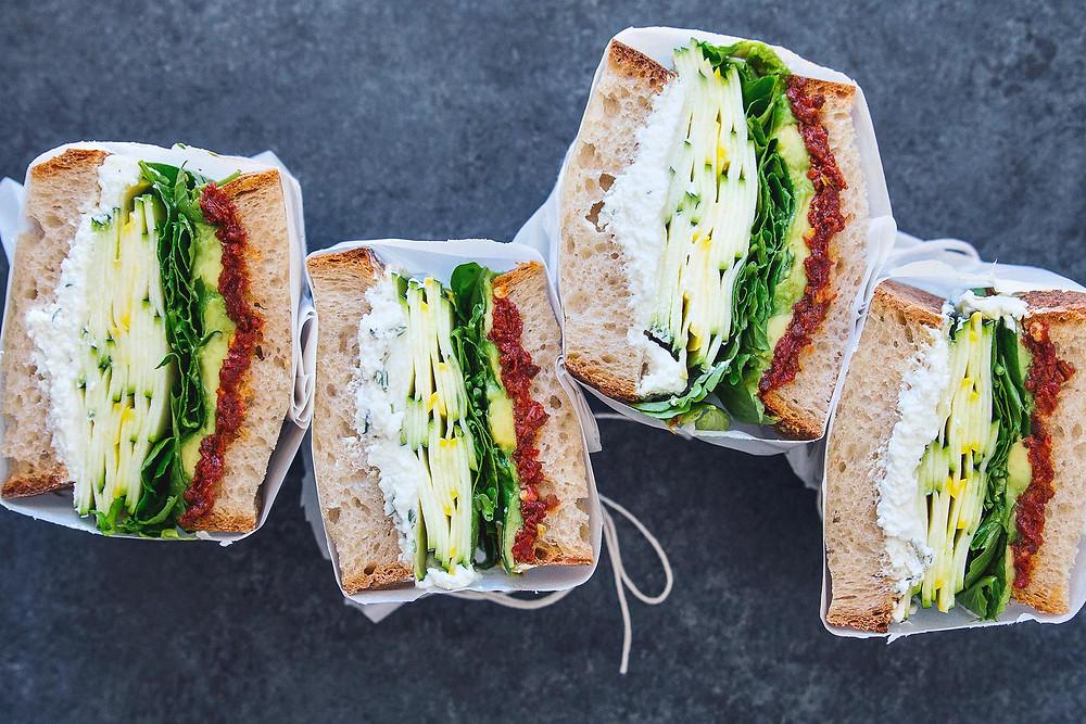 summer squash sandwich cut in half