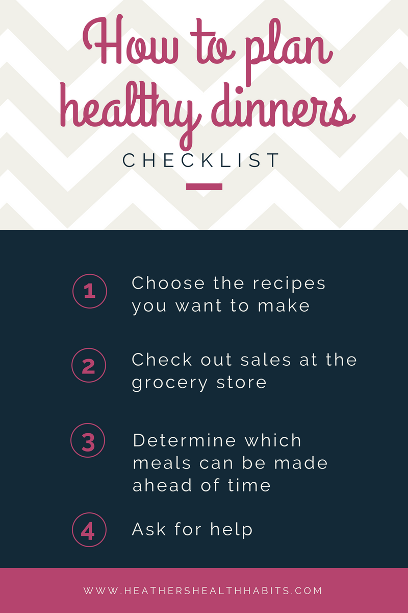 checklist of how to plan healthy dinners
