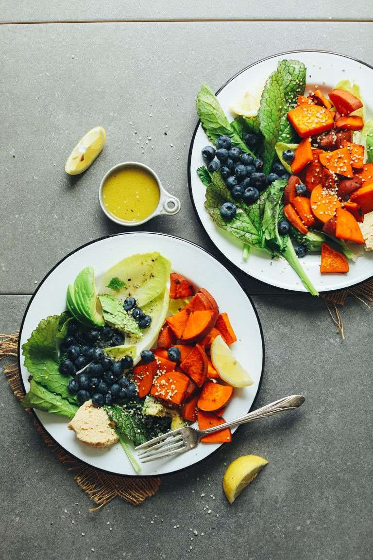 sweet potato, blueberries and greens make a savory breakfast salad that supports a health gut
